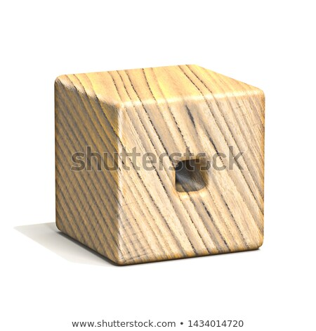 Solid wooden cube font Letter O 3D Stock photo © djmilic