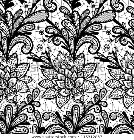 Encaje sin costura diseno blanco negro pasado de moda repetitivo Foto stock © RedKoala