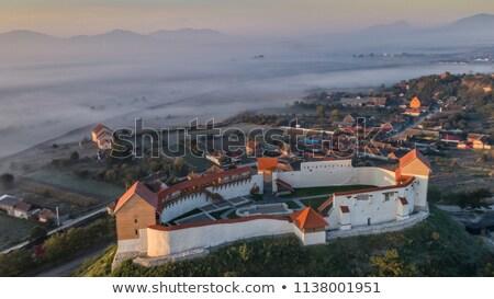 Mittelalterlichen Festung Stadt blau Burg Jahrgang Stock foto © grafvision