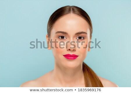 Güzellik kız high fashion bakmak mor dudaklar Stok fotoğraf © serdechny
