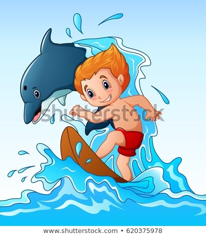 Boy in Shorts Playing Water Game, Summer Vector Stock photo © robuart