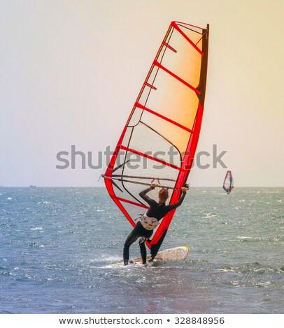 Nyár nap windszörf nő női szörfözik Stock fotó © robuart