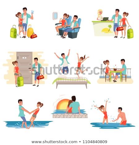 travelers couple on vacation reception and beach stock photo © robuart