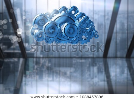 cog gears cloud with city windows background Stock photo © wavebreak_media