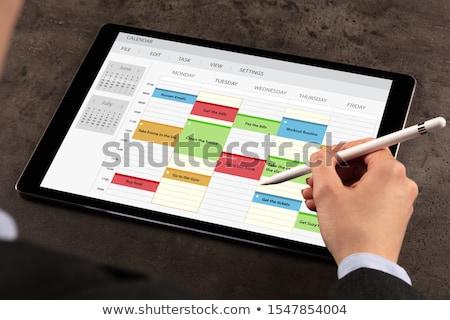 Business woman harmonogram program tabletka tygodnik działalności Zdjęcia stock © ra2studio