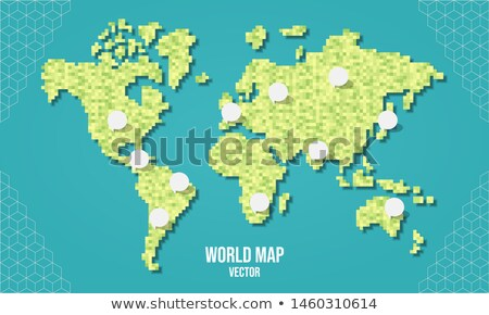 Green world pixel map with empty bubbles Stock photo © cienpies