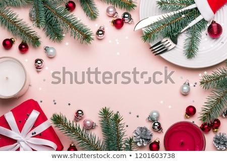 Navidad mesa rosa color decoración superior Foto stock © furmanphoto