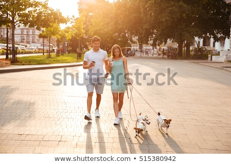 человека Кубок кофе ходьбе собака привязь Сток-фото © robuart
