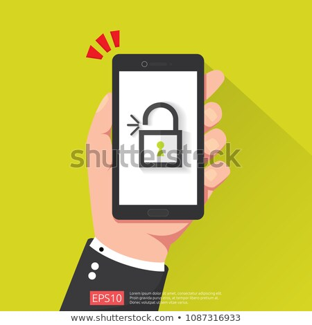 hand holding phone with open unlock padlock icon. attention access warning alert mark on screen. shi Stock photo © taufik_al_amin