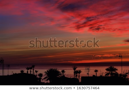Nature background, fantastic bloody red coloured sunrise over Me Stock photo © amok