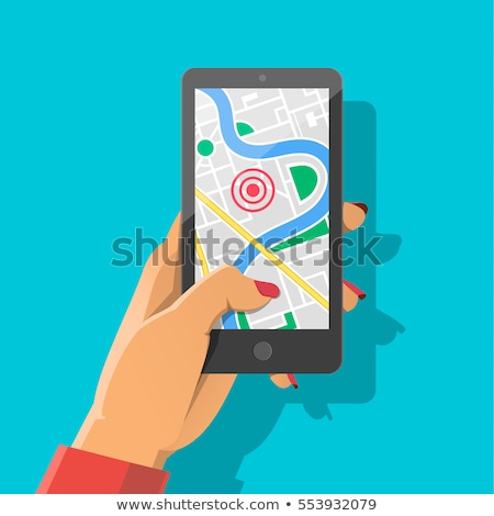 Woman's Hand Holding Mobile Phone With Location Mark On Map Stock photo © AndreyPopov