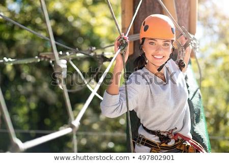 Positivo mulher tempo livre aventura parque árvore Foto stock © galitskaya