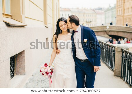 Afetuoso bonito noivo barba futuro esposa Foto stock © vkstudio