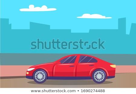 Vehicle Passing Natural or Urban Landscape Vector Stock photo © robuart