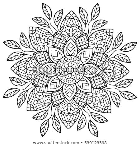 Yoga simge tek renkli mandala sanat meditasyon Stok fotoğraf © barsrsind