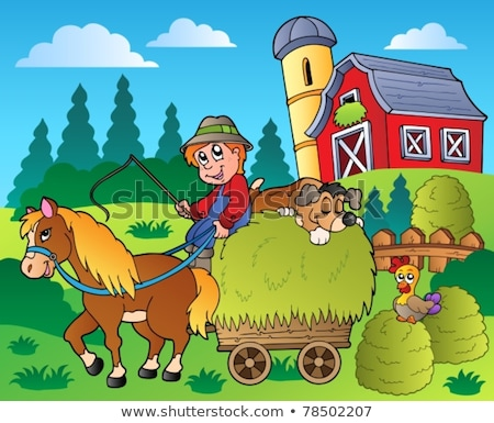 Farm scene with farmer and pony on the farm Stock photo © bluering