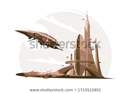 будущем архитектура космический корабль воздуха футуристический небоскреба Сток-фото © jossdiim