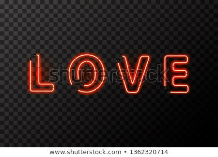 LOVE word made up from bright red neon letters on transparent Stock photo © evgeny89