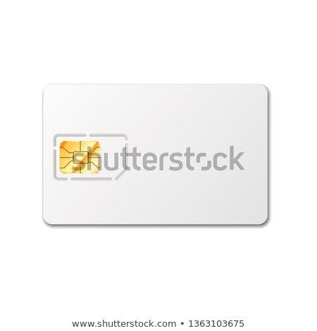 Sim card template for phone with golden glossy chip on white Stock photo © evgeny89