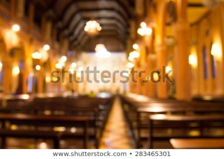 Kerk interieur altaar licht stralen kruisbeeld Stockfoto © albund