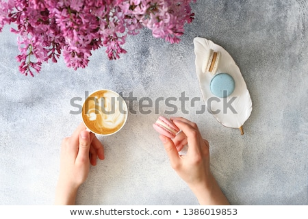 Francês macaron sobremesa servido chá da tarde Foto stock © grafvision
