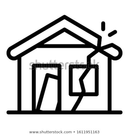 Ineenstorting oude huis icon vector schets illustratie Stockfoto © pikepicture