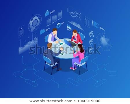Geschäftsleute Gespräch Symbol Vektor Zeichen Stock foto © pikepicture
