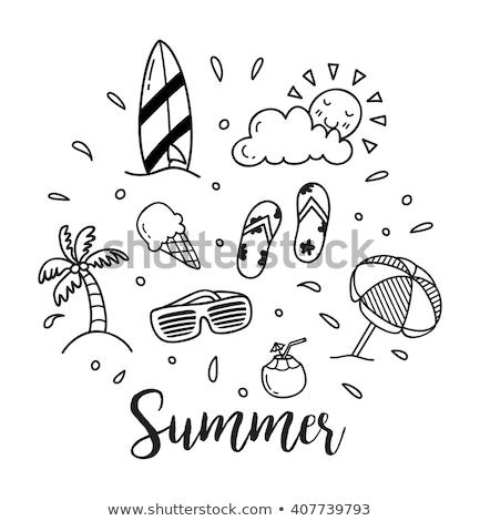 tekening · zomer · borstel · papier · school · zon - stockfoto © romvo