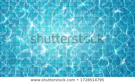 Blue tile on bottom of a swimming pool Stock photo © pzaxe