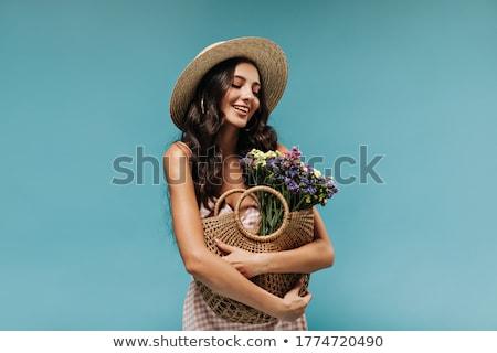 Stok fotoğraf: Esmer · güzellik · atış · çiçek · genç