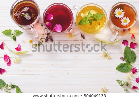ストックフォト: ガラス · カップ · 茶 · フレーム · 多くの · 1
