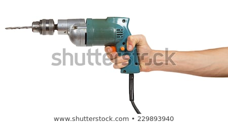 Kéz tart kék fúró munka fém Stock fotó © simpson33