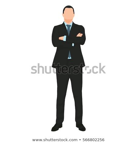 grave · mujer · de · negocios · doblado · armas · mujer · feliz - foto stock © wavebreak_media