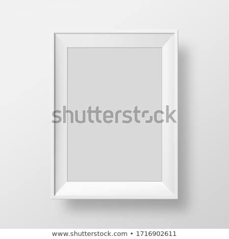 Fából készült négyszögletes fényképkeret izolált fehér fal Stock fotó © karandaev