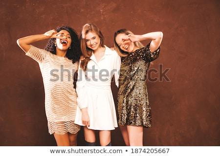 小さな セクシー ブルネット ポーズ 笑みを浮かべて グレー ストックフォト © acidgrey