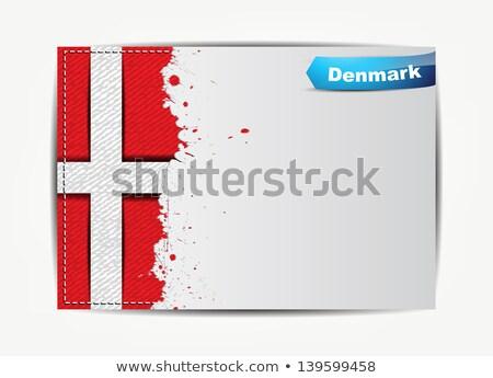 Stitched Denmark flag with grunge paper frame Stock photo © maxmitzu
