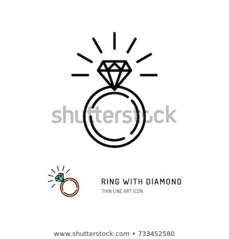 wedding diamond engagement ring icon stok fotoğraf © redkoala