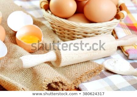 Tojássárgája liszt sodrófa felső törött tojások Stock fotó © Rob_Stark