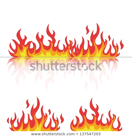 Fire flames, set orange icons with reflection Stock photo © Ecelop