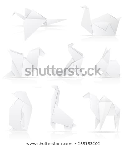 origami paper sea calf vector illustration Stock photo © konturvid