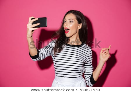 Autoritratto attrattivo eccitato donna foto porta Foto d'archivio © cboswell