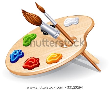 木製 芸術 パレット ペイントブラシ 白 戻る ストックフォト © tetkoren