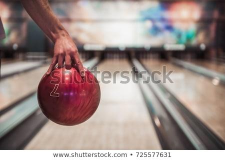 Férfi tart bowling golyó férfiak bowling játszik Stock fotó © Jasminko