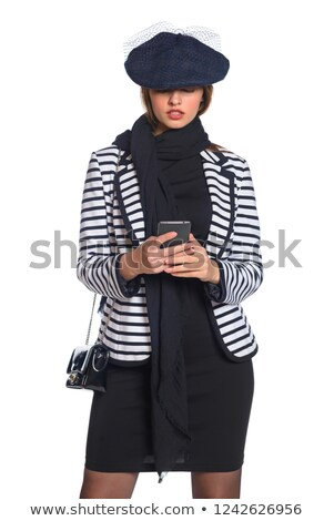 Woman in retro style costume dials number Stock photo © vetdoctor