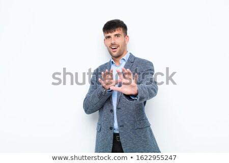 Imprenditore urlando frustrazione isolato bianco comunicazione Foto d'archivio © bmonteny