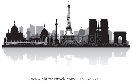 Stock photo: Paris City Skyline Silhouette Black And White Illustration