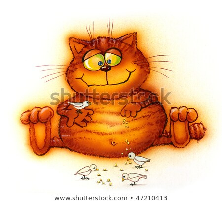 good red cat feeding birds (cartoon) Stock photo © ddvs71