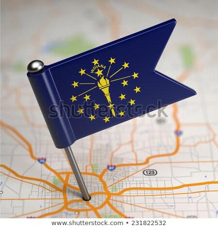 Indiana klein vlag kaart selectieve aandacht achtergrond Stockfoto © tashatuvango