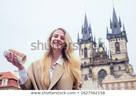 Cseh nő gyönyörű fiatal türkiz ruha Stock fotó © disorderly
