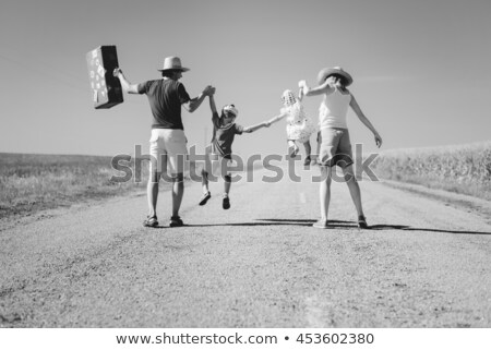girl and child in valise.family  to journey Stock photo © fanfo